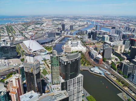 View from the skydeck of the Eureka tower over the Yarra river and Melbourne in Victoria in Australia