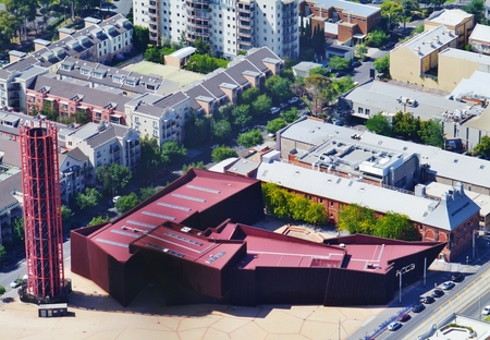 corten: The red rust corten steel acca building in Melbourne in Victoria in Australia