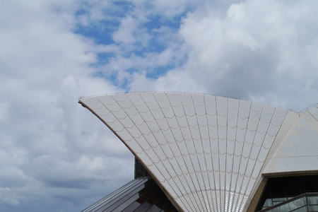 View of a detail of the Sydney opera house in Australia
