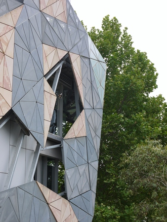 fronts: Modern architecture on Federation square in Melbourne in Australia