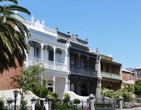historic buildings: A nineteenth century house with iron cast in Melbourne in Victoria in Melbourne