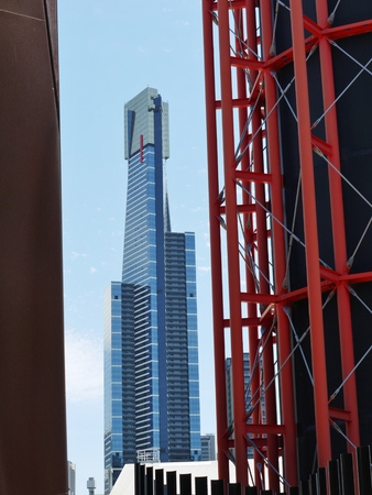 The Eureka tower and the tower of the Acca building in Melbourne in Victoria in Australia