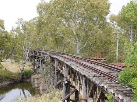 The historic rail bridge over Murrumbidgee River in Gundagai in Australia