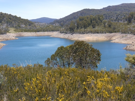 Jindabyne lake in the Snowy River in the Snowy Mountains of New South Wales in Australia photo