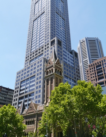 The building of Collins Street Uniting Church and 120 Collins street in Melbourne in Victoria in Australia