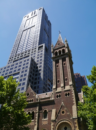 congregational: The building of Collins Street Uniting Church and 120 Collins street in Melbourne in Victoria in Australia