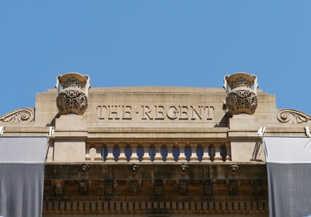 national trust: A detail of the Victorian Regent theatre in Collins street in central Melbourne in Victoria in Australia