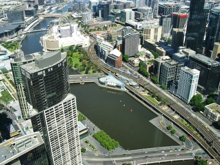 southgate: View from the skydeck of the Eureka tower over the Yarra river and Melbourne in Victoria in Australia
