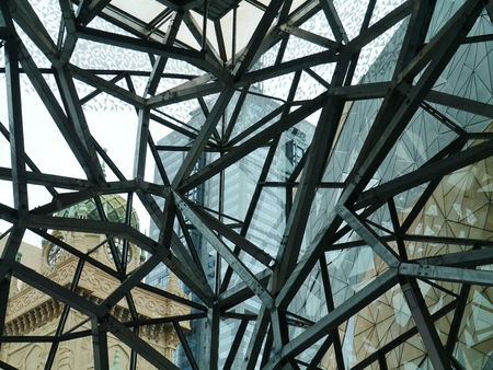 view of an atrium in a building: Federation square with a building of the Australian centre  for moving image in Melbourne in Victoria in Australia