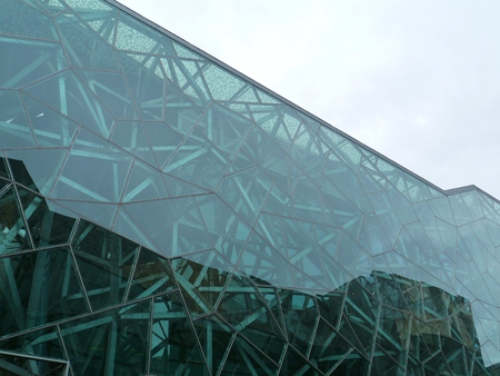 federation: Federation square with a building of the Australian centre  for moving image in Melbourne in Victoria in Australia