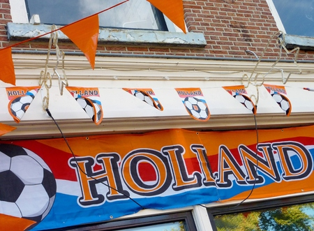 A Dutch cafe supporting the orange soccer team of the Netherlands