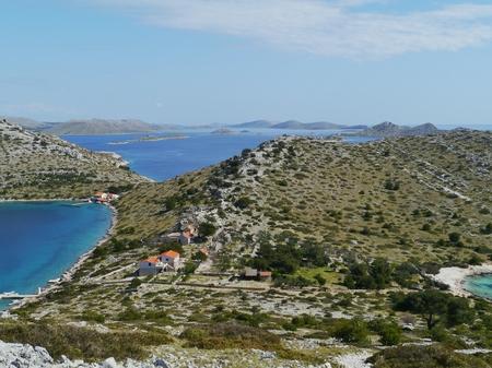 kornati national park: View of the bay of the island Levrnaka in the Kornati national park in the Adriatic sea of Croatia