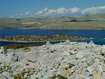 View on the Kornati national park from the island Levrnaka in Croatia photo