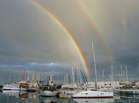 betina: A double Rainbow in the Marina of Betina on the Island Murter in Croatia Editorial