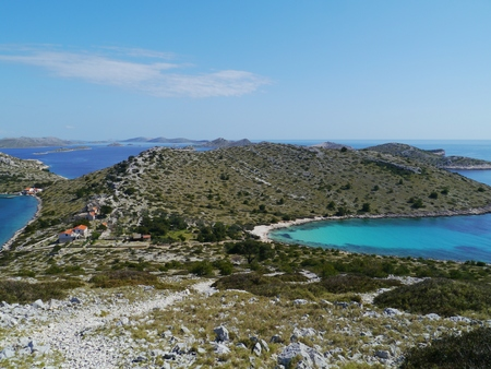 The Lojena bay of the island Levrnaka in the Adriatic sea of Croatia photo