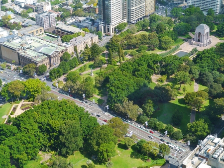 hyde: Anzac war memorial in hyde park in Sydney in Australia seen from the skydeck of the Sydney tower Stock Photo