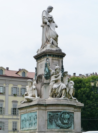 cavour: Camillo Benso of Cavour Monument at Piazza Carlo Emanuele II in Turin in Italy