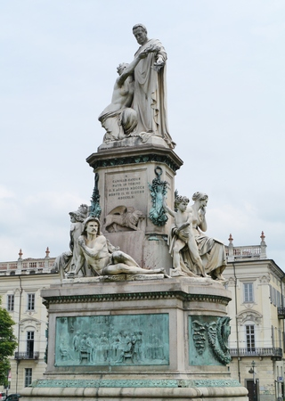 camillo: Camillo Benso of Cavour Monument at Piazza Carlo Emanuele II in Turin in Italy