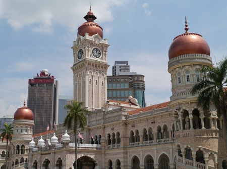 The tower of the Sultan Abdul Samad building  in front of the dataran Merdeka in Kuala Lumpur in Malaysia