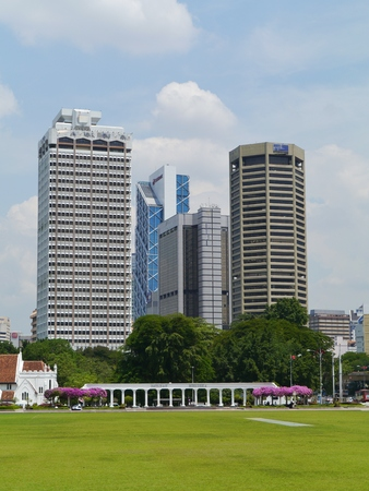 Houses at the Merdeka square with skyscrapers in the back in Kuala Lumpur in Maylasia