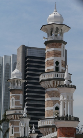 De Jamek moskee in Kuala Lumpur in Maleisië Stockfoto