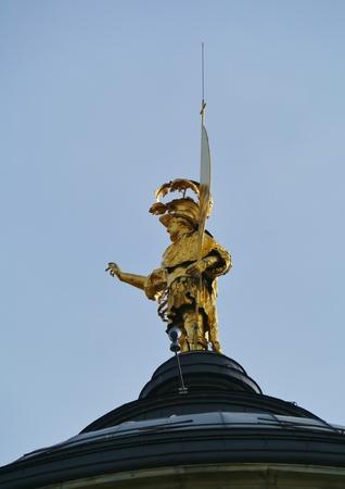 patron: The golden statue of Saint Alexander of Bergamo he is the patron saint of Bergamo Editorial