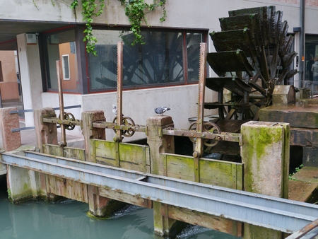 treviso: The carriage wheel of a water mill in Treviso a city on the river sile in the Province Treviso in Veneto in Italy