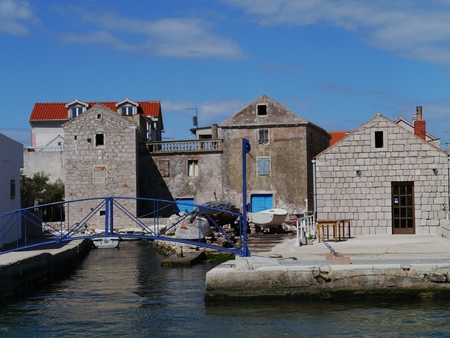 betina: Houses and boats in the village Betina at the island Murter in Croatia