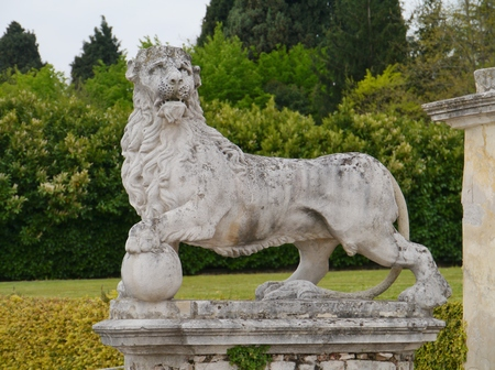 barbaro: One of the sculpures in the park of the villa Barbaro also known as the Villa di Maser is a large villa at Maser in the Veneto region of northern Italy Stock Photo