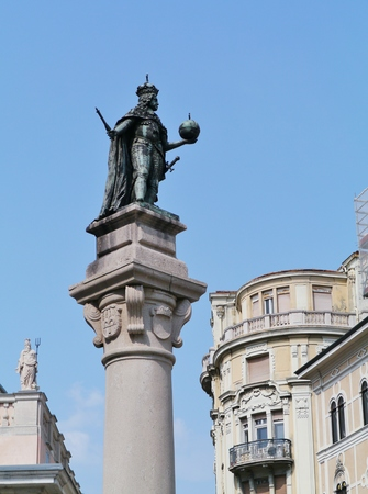 stock vista: A bronze statue of the Habsburg Emperor Leopold I on the stock exchange square in Trieste in Northern Italy