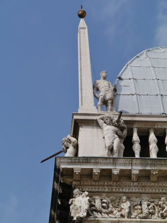 eponymous: A detail of the Palazzo della Loggia is Brescia City Hall