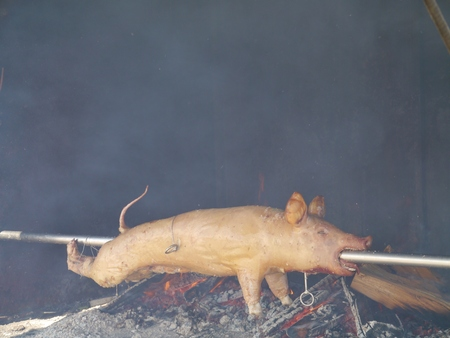 A pig at a spit photo