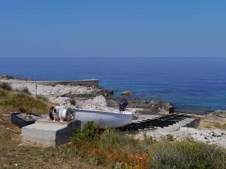 slipway: A boat slipway at the coast of Veli Rat on the  island Dugi Otok in Croatia
