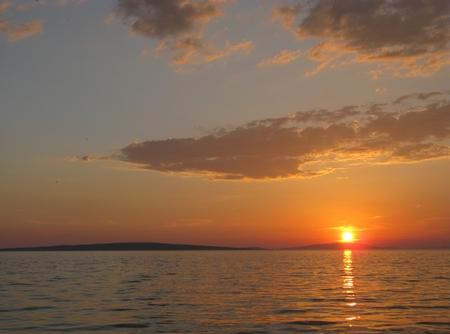 ist: Sunset at Ist in the Adriatic sea of Croatia Stock Photo
