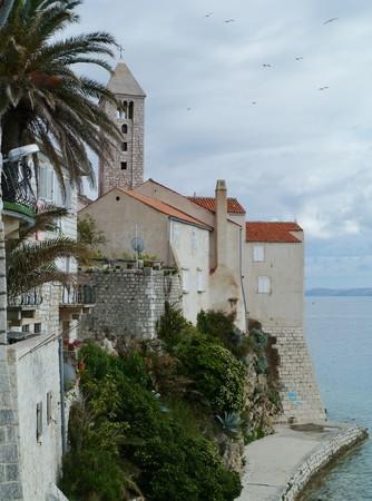 The promenade of teh city Rab in Croatia photo
