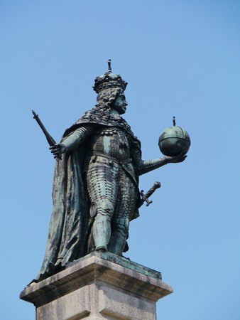 habsburg: A bronze statue of the Habsburg Emperor Leopold I on the stock exchange square in Trieste in Northern Italy