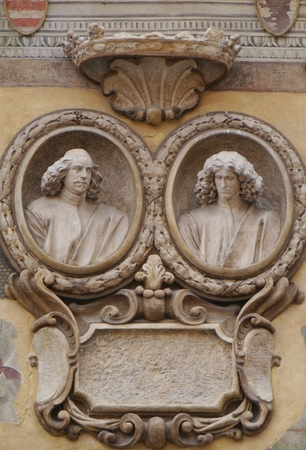 bas: Bas relief of a front of a house on the Piazza dei signori in Verona in Italy Stock Photo