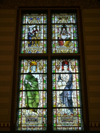 Stained glass of the Rijksmuseum or State museum in Amsterdam in the Netherlands