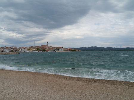 betina: Bad weather in the bay of the village Betina on the island Murter in Croatia Stock Photo