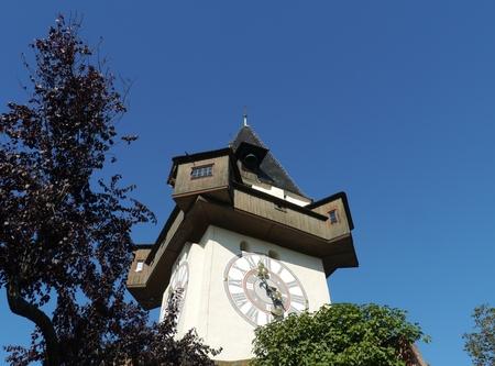 The glockenturm or bell tower at Schlossberg hill in Graz in Austria
