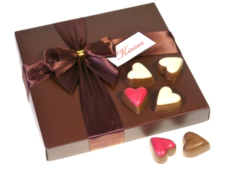 A brown box with chocolates for Valentines day a birthday mothers day or just for a present photo