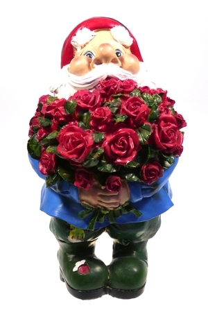 kobold: A garden gnome with a bunch red roses for Valentines day