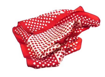 loveable: Red and white hearts on a shawl for loveable celebrations Stock Photo