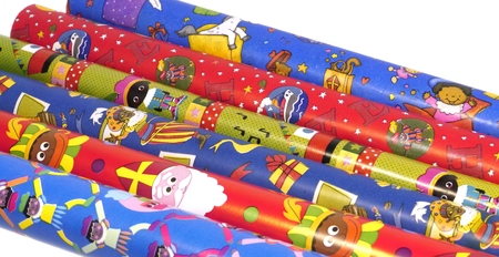 characterizing: Wrapping paper for Sinterklaas a typical Dutch celebration Stock Photo