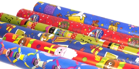 nicolaas: Wrapping paper for Sinterklaas a typical Dutch celebration Stock Photo