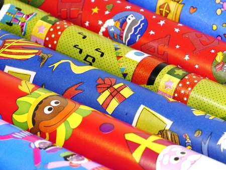 Wrapping paper for Sinterklaas a typical Dutch celebration Stock Photo