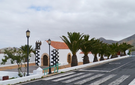 The white small church of the village Tindaya on the island Fuerteventura one of the Canary islands belonging to Spain