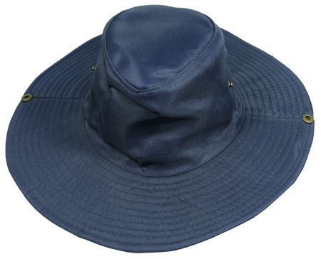 brim: A blue hat with a wide brim against the Sun over white