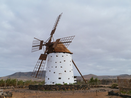 wind mill: Historic wind mill in the surroundings of El Cotillo on the Spanish island, Fuerteventura Stock Photo