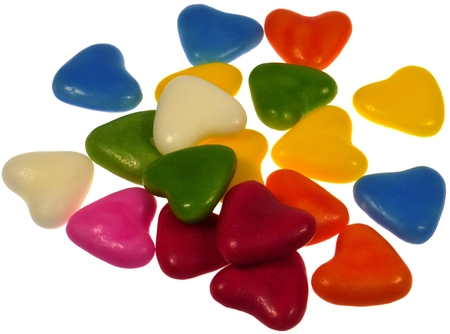laxative: Isolated colorful sugar candy hearts Stock Photo